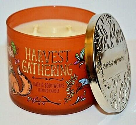 New BATH and BODY WORKS 3 Wick Candle HARVEST GATHERING