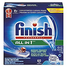 FINISH 51700-81158 Powerball Dishwasher Tabs, Fresh Scent (Pack of 60)