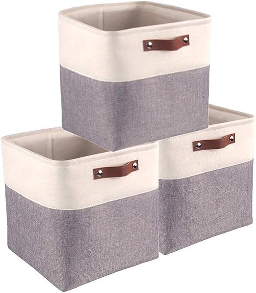 Mangata Cajas de Almacenaje Decorativas, Cesta de Almacenamiento de Tela Plegable, Cubos de Almacenamiento - 33 x 33 x 33 cm (Blanco/Gris, 3 Pcs): Amazon.es: Hogar