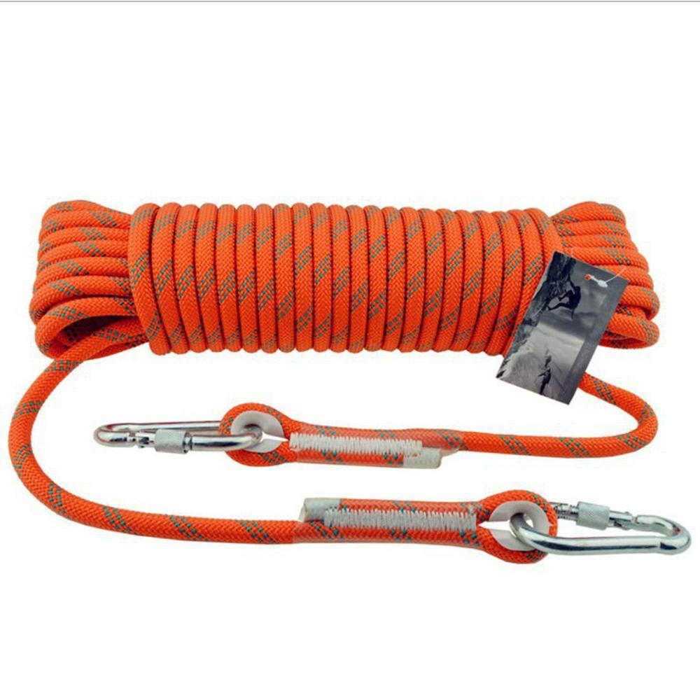 Orange LINLIM 12mm Haute Altitude Corde De Sécurité Corde d'escalade Rappelant La Corde Statique Porter La Corde d'escalade Extérieure Lifesaving évasion Corde rouge-12mm20m 12mm30m