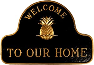 Montague Metal Products SP-48-BG Pineapple Welcome to Our Home Plaque, Black and Gold