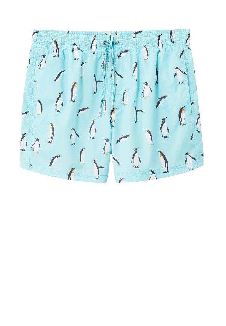 MANGO Men's Penguin Print Swimsuit, Aqua Green, M