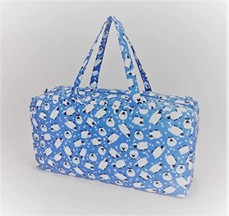 Holdall Style Knitting Bag Pretty Sheep Design On Blue 2 Sizes 1
