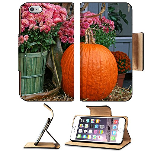 Luxlady Premium Apple iPhone 6 Plus iPhone 6S Plus Flip Pu Leather Wallet Case IMAGE ID: 23242626 Pink chrysanthemums in a basket and a pumpkin on a hay bale on (Fall Halloween Porch Ideas)
