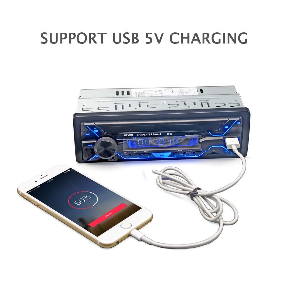 USB//SD//AUX//FM//WMA//Reproductor de MP3 Audio con Control Remoto Inal/ámbrico Autoradio Bluetooth BETECK Radio Coche Bluetooth Reproductor de Mp3 001