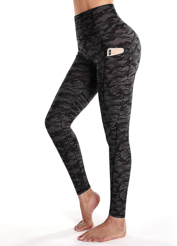 STYLEWORD Women's Camo Pattern Print Yoga Leggings High Waist 4 Way Stretch Training Athletic Pants with Pocket(Camo-084B,L)