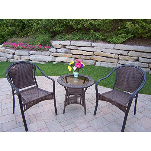 Sedona Bistro - Oakland Living Corporation Sedona Wicker 3-Piece Bistro Set (2 Stackable Chairs and 1 Side Table)