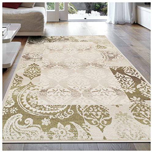 (Superior Modern Mystique Collection Area Rug, 8mm Pile Height with Jute Backing, Elegant Multi-colored Damask Pattern, Anti-Static, Water-Repellent Rugs - Beige, 8' x 10' Rug)