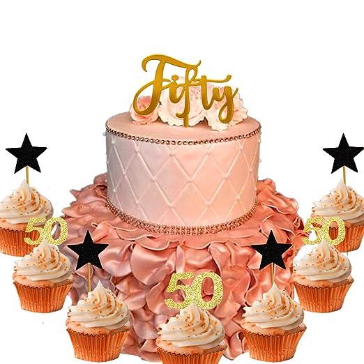 21 piezas JeVenis decoración para tarta de 50 cumpleaños con ...