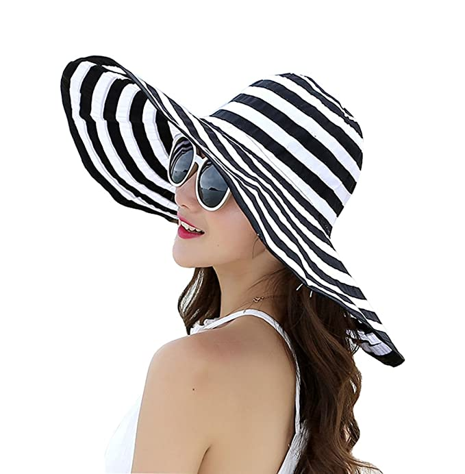5fac6b0f JGJ Womens Sun Hat Summer Beach Hat Foldable Packable UPF 50+ Wide Brim  Floppy Cap