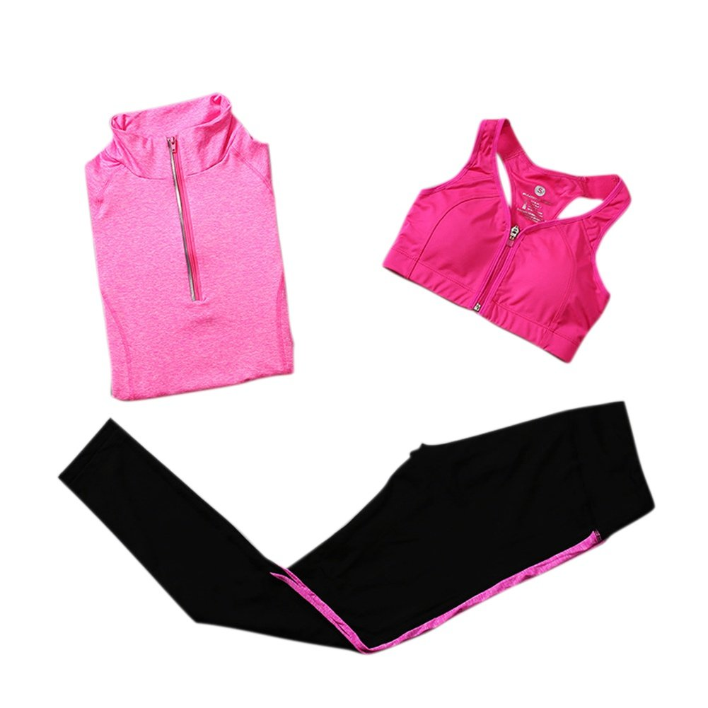 Hankyky Women Sportsuit Set Outwear Shirt Pants Bra 3 Piece Sets Workout Outfit Sportswear Set For Running Sport Yoga Gym