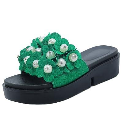 AIYOUMEI Damen Plateau Pantoffeln mit Blumen und Perlen Bequem Indoor und Outdoor Super Weich Schuhe