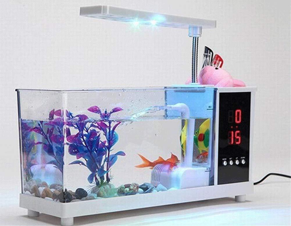 JIANGU - Pecera pequeña (Cilindro Transparente de acrílico Blanco, Luces LED alimentadas por USB y Reloj Digital, 27,2 x 9 x 13,3 cm): Amazon.es: Productos ...
