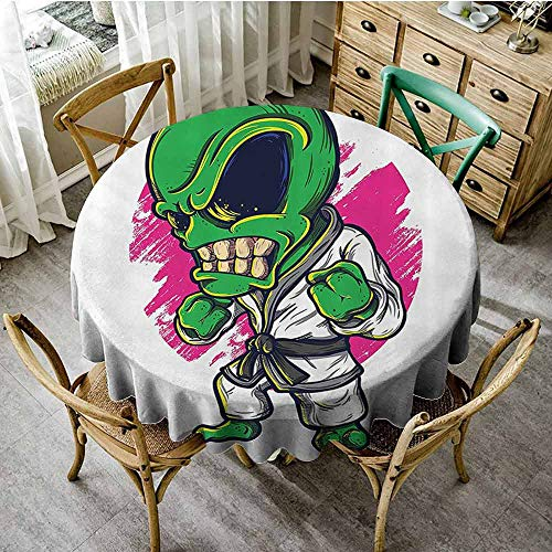 EDZEL Polyester Tablecloth, Great for Buffet Table, Alien Warrior Practicing Chinese Martial Art Karate Sports Children Decor, D71, Green Pink (For Table Buffet Sale Chinese)