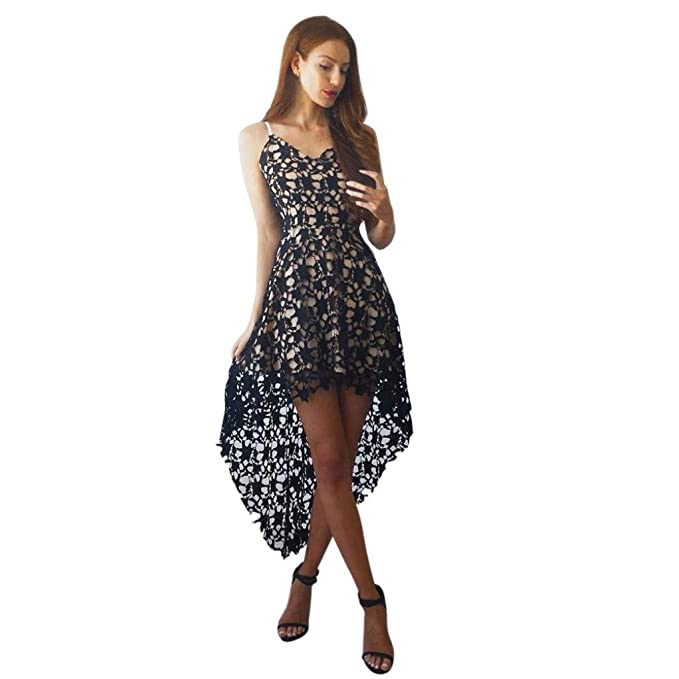 vestidos de mujer,Switchali mujer verano Floral encaje Sin mangas vestido Cuello en V Cóctel