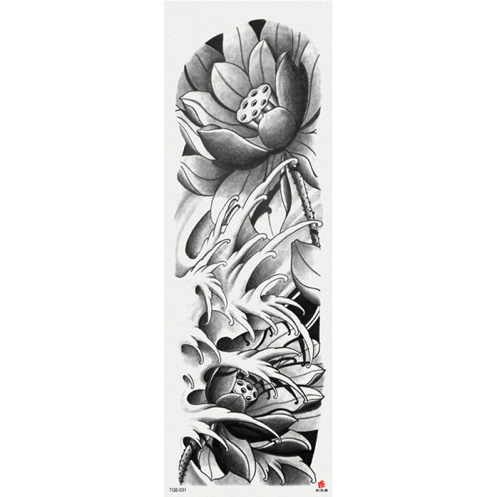 Brazo Completo Flor Grande Brazo Personalidad Tatuaje Impermeable ...
