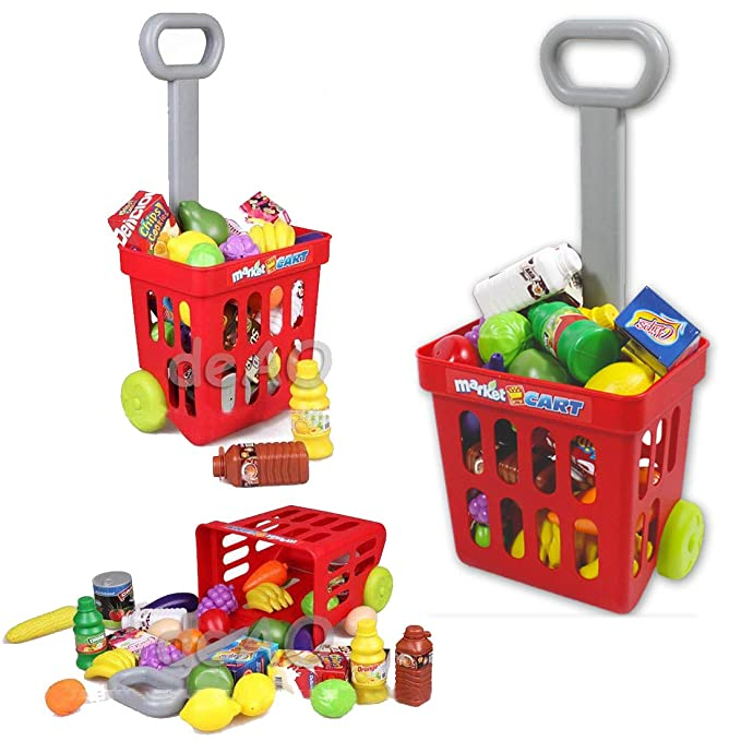5918583d8794 deAO Supermarket Kids Market Stall Toy Shop with Shopping Trolley And Play  Food: Amazon.co.uk: Toys & Games