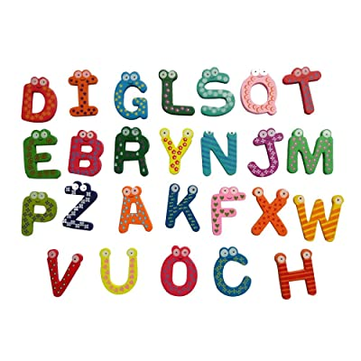 Hefu ???? Letter/Number Fridge Magnet, Magnetic ABC Alphabet/Number Wooden Cartoon Fridge Magnet - Educational Toy for Toddler Baby (Letters): Home & Kitchen