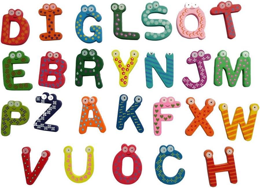 26pcs Lettre Alphabet Frigo Réfrigérateur en Bois Aimant