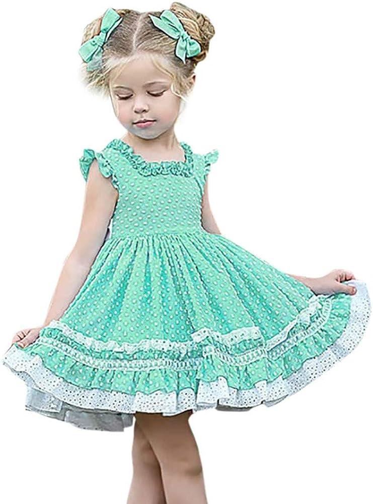 YWLINK Vestido De Verano NiñA Mezcla De AlgodóN Vestido De Princesa De Encaje con Volantes Sin Mangas Vestido Casual Vestido De Playa De Vacaciones(Menta Verde, 6-12 Meses): Amazon.es: Ropa y accesorios