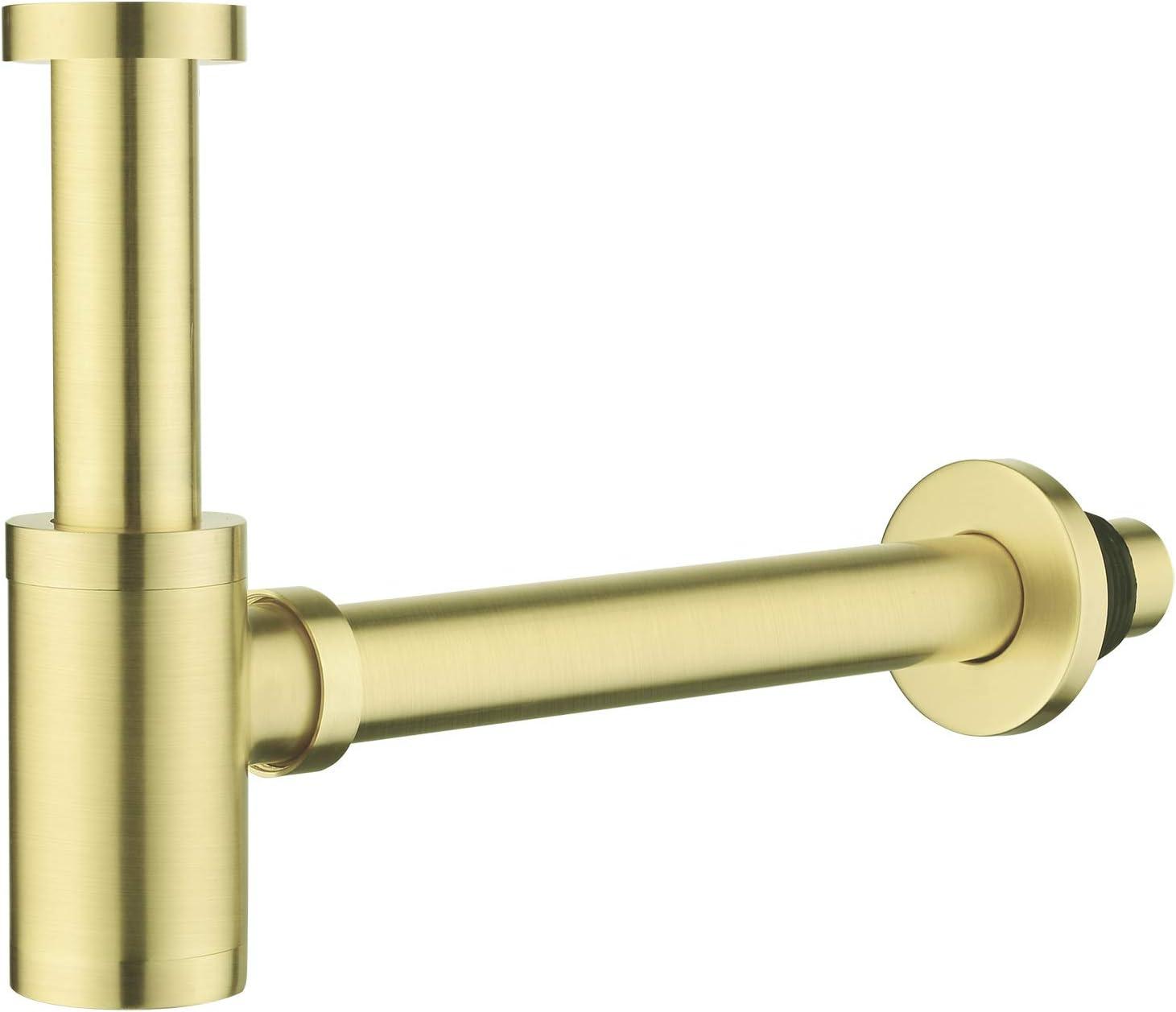 Bördelrohr Tauchrohr Flaschensiphon Waschtisch Sifon Siphon vergoldet gold 300mm