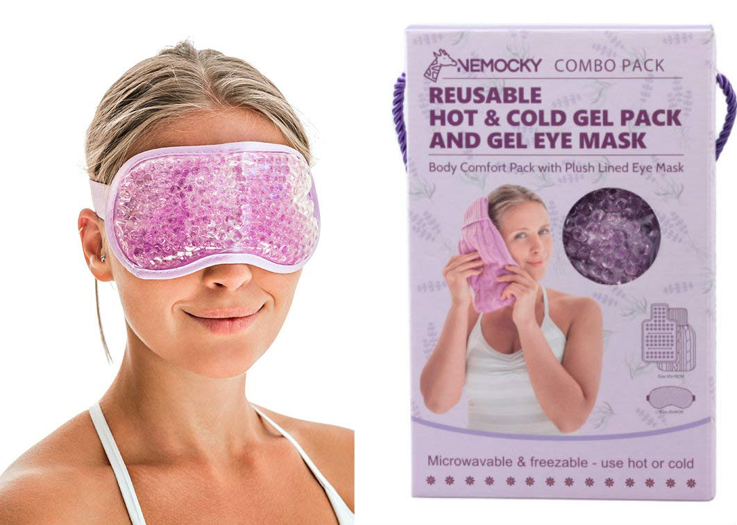 Gel Eye Mask with Flexible Gel Beads - Cool Compress for Puffy Eyes - Dry Eyes - Hot and Cold Therapy Gel Pack - Cooling Eye Mask - Gifts For Women Nemocky®