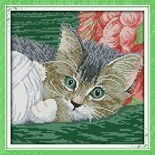 Astitch Stamped Cross Stitch Kits The cat paly with the circle of - Good Paly