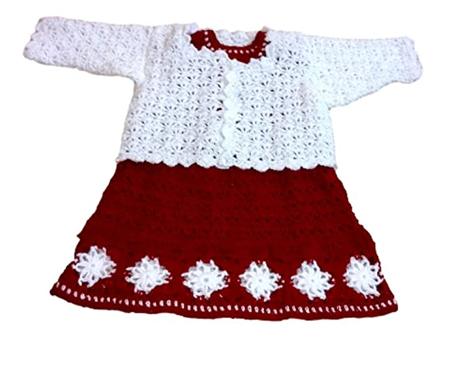 0055715d1 Baby Girl s Woolen Frock with Jacket(Red and White