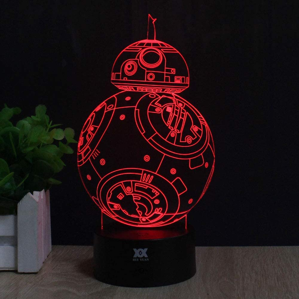 3D Lamp Fuwa Force Awaken Bb-8 Night Light 7 Color Change Best Gift Night Light LED Desk Table Lighting Home Decoration Toys Designed by HUI YUAN