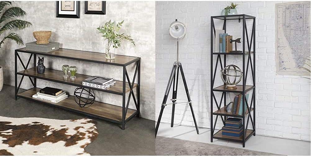 Walker Edison Furniture Company 2 Shelf Industrial Wood Metal Bookcase Bookshelf Storage, 60 Inch & 4 Tier Open Shelf Wood Tall Metal Bookcase Bookshelf Home Office Storage Cabinet