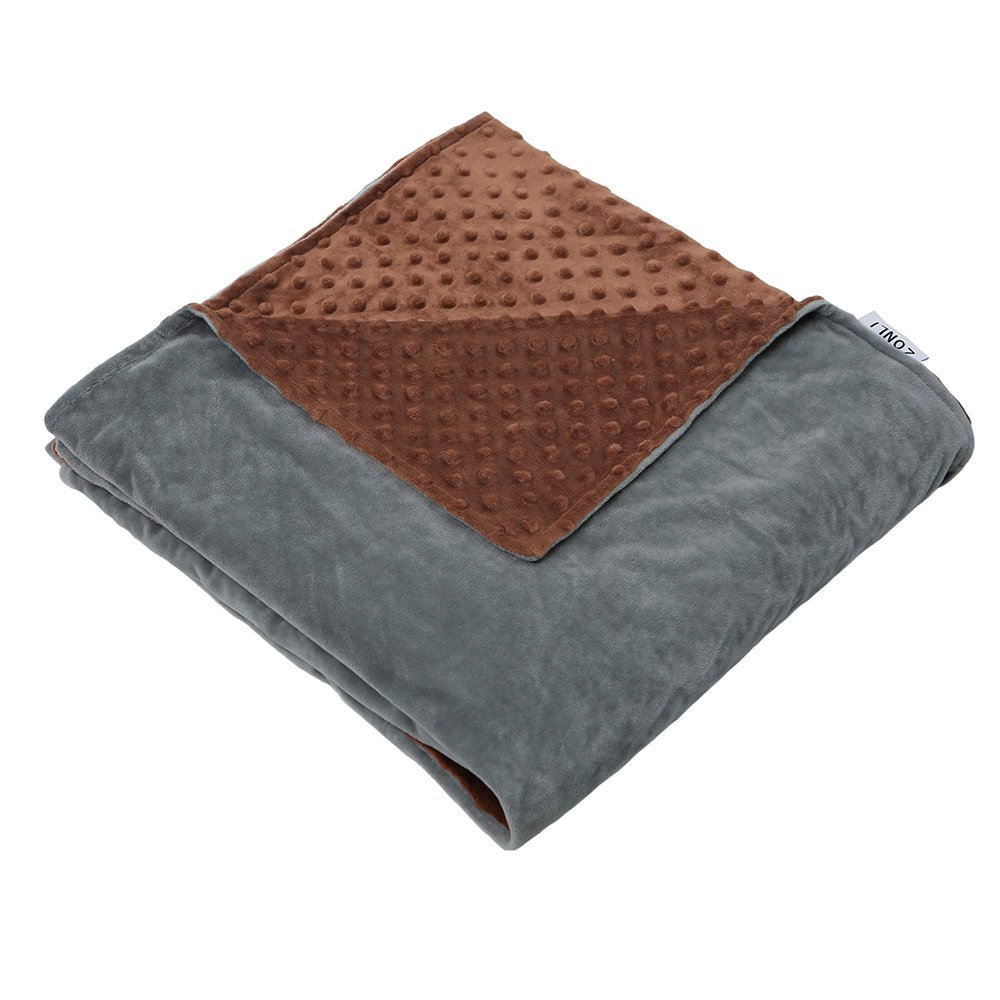 ZonLi Removable Duvet Cover for Weighted Blanket   Grey/Brown   Minky Dot Duvet Cover   60''x80'' Ltd.