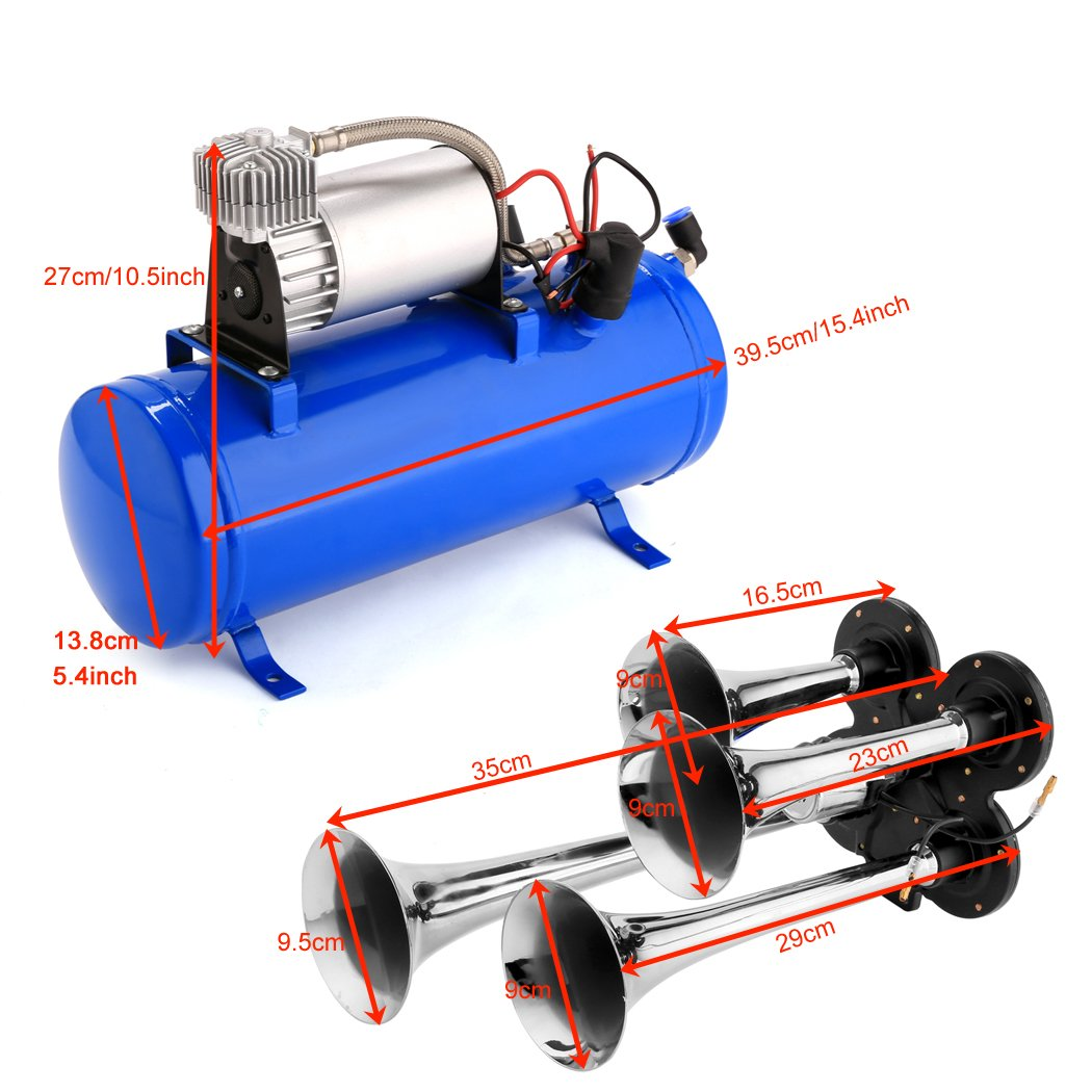 Hosmat 150DB Compressor 4 Trumpet Train Air Horn Kit with 120 PSI Air Compressor for Almost Any Vehicle Trucks Car SUV Blue