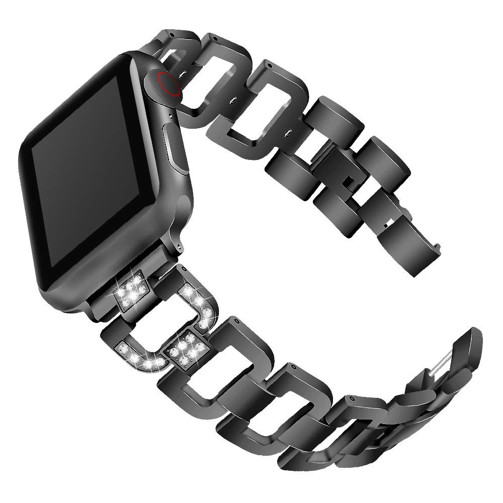 Watchband for iWatch Series 4,elacfan D Shape Shining Rhinestone Stainless Bracelet Band Removable Links Replacement Watch Band with Watch Lugs 40mm Watch Strap for iWatch Series 4,Black by elecfan