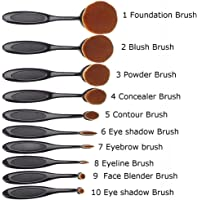 Bullidea Soft 10pcs Toothbrush Shaped Foundation Power Makeup Oval Cream Puff Brushes Set