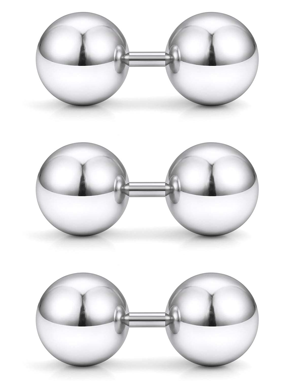 Yaalozei 3PCS 14G Stainless Steel Externally Threaded Straight Barbell Tragus Ring Cartilage Jewelry w 6mm 8mm 10mm Big Balls B07GS1QMVM_US