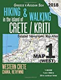 Hiking & Walking in the Island of Crete/Kriti Map 1 (West) Detailed Topographic Map Atlas 1:50000 Western Crete Chania, Rethymno Greece Aegean Sea: ... Map (Hopping Greek Islands Travel Guide Maps)