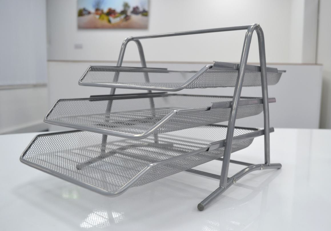 SHINE Executive Mesh 3 Tier Letter Tray SILVER Free Next day Delivery