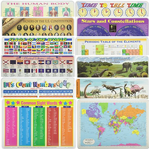 Painless Learning Educational Placematsfor Kids World Map, dinosaurs, Ice Age Mammals, Periodic Table, Stars, Time, Human Body, Signers, World Flags, States Flags, Count Numbers, Common Words 12PK