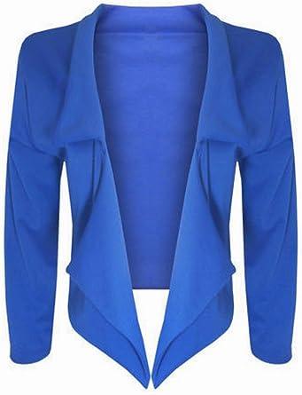 New Ladies Cropped Waterfall Short Blazer Womens Mini Cardigan Top 8-14