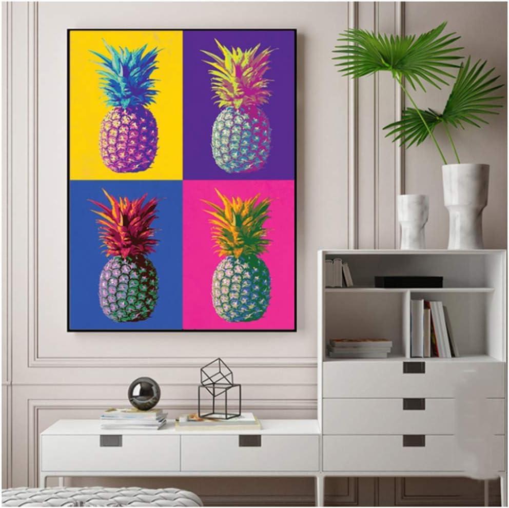 Colorido piña Andy Warhol famoso ilustraciones de la lona pintura del arte de la sala de estar, cuadros decorativos No Frame No Frame-60x90cmx1pcs-