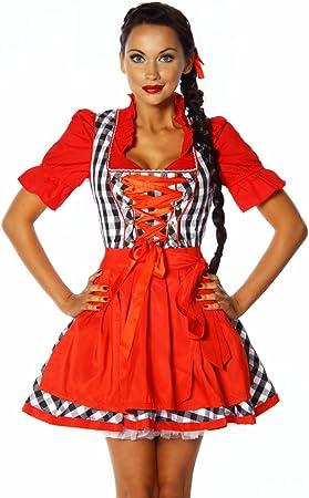 Disfraz de vestido tradicional tirolés Sexy tirolesa rojo/blanco ...