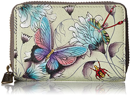 Anuschka Women's Hand Painted Leather Credit and Business Card Holder,Wondrous - Anuschka Genuine Leather