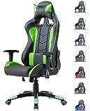 Delman Gaming Stuhl Bürostuhl Racing Stuhl Schreibtischstuhl ergonomische Design 02-1004 (Schwarz-Grün)