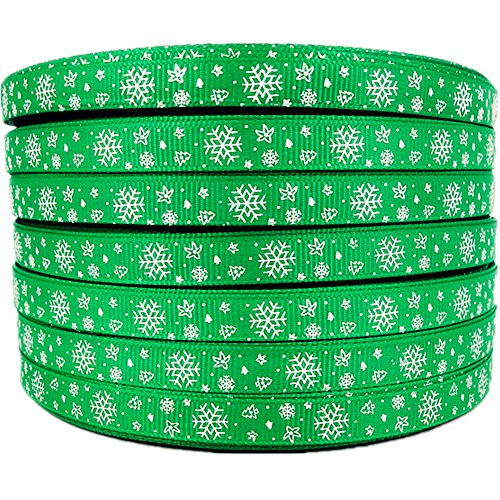 3/8 50yards Christmas White Snowflake Pattern Printed Green Grosgrains Ribbons Hairbows Party Craft Supplies