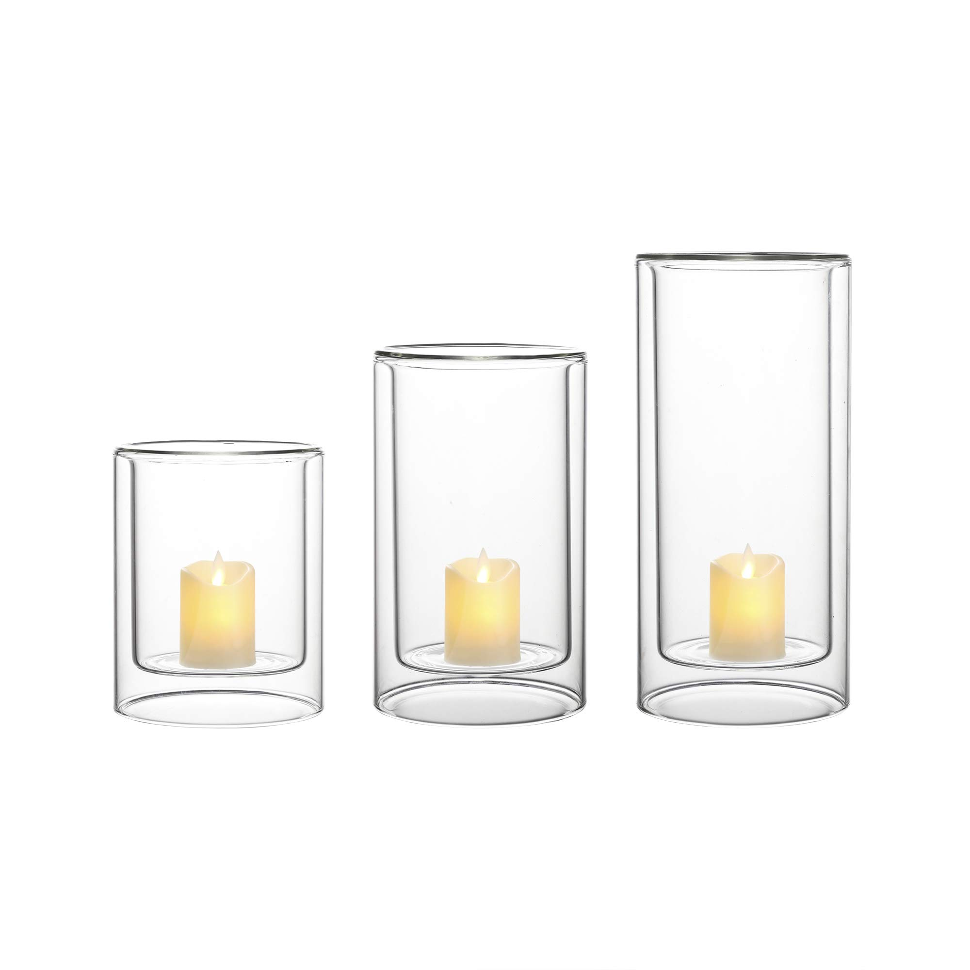 Whole Housewares Glass Candle Holder Double-Walled Glass Set of 3 H 5.9/7.9/9.8 inch Simple Design Multiple Use as a Vase, Candle Holder, Hurricane Lantern or Succulent Terrarium (Dia 4.7'')