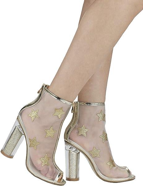 354640cb387 Women Star Gold Peep Toe Glitter Star Mesh Clear Cinderella Perspex Acrylic Block  Heel Evening Dress