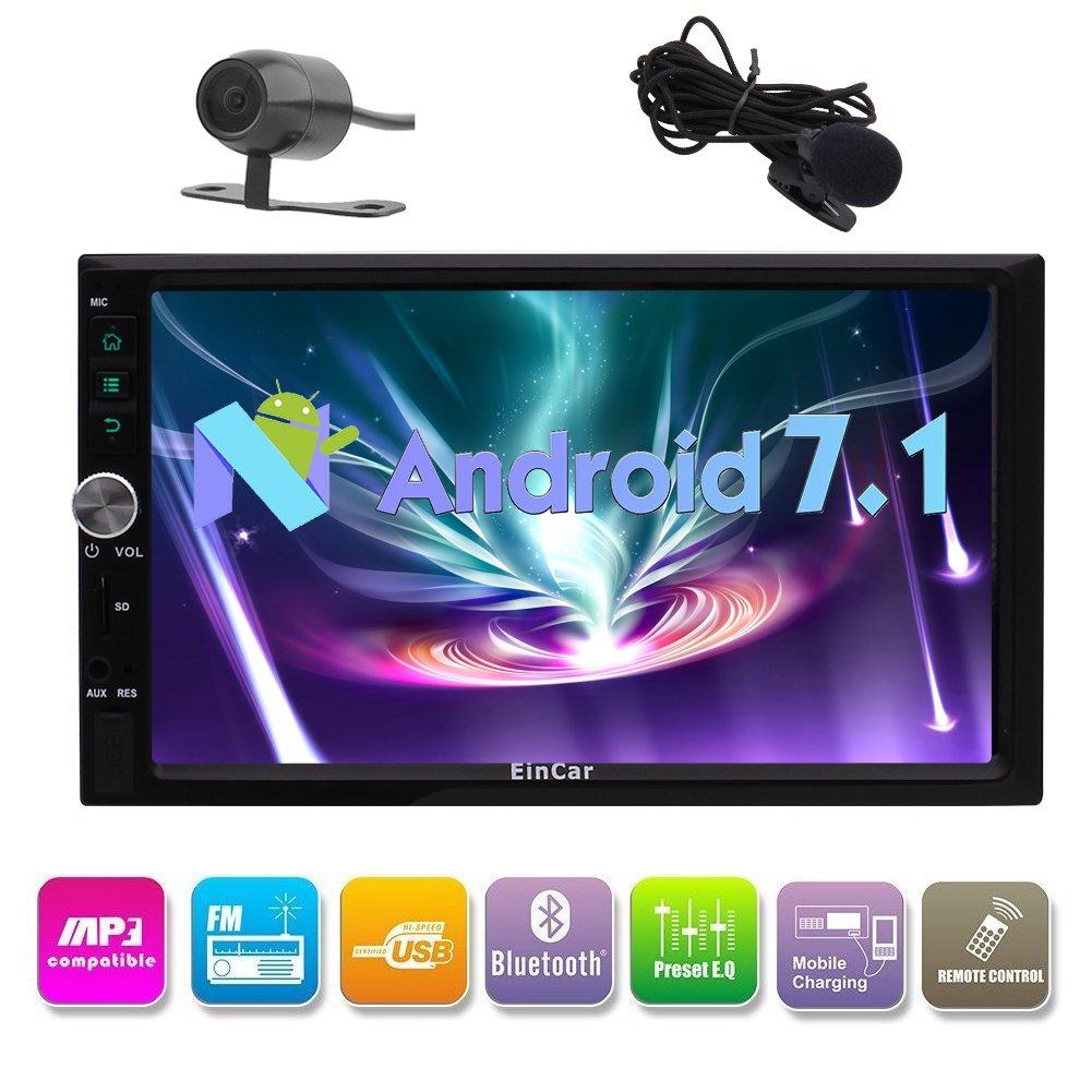 Car Autoradio 2 Din 7 Android 7.1 Nougat OS Quad Core GPS navi Car Stereo Head Unit Support Fast-boot/Mirror Link/DVR/SWC/Bluetooth/AM/FM Radio + Free Rear Camera by Eincar B075Y9YCHK