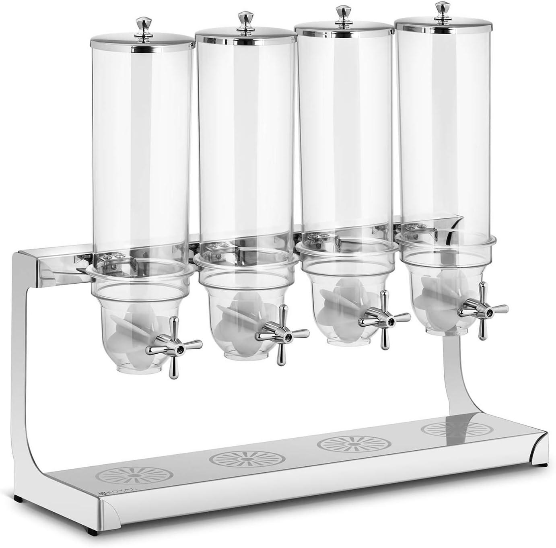 Royal Catering Dispenser per Cereali Distributore di Cereali RCCS-3.5LSS2 2 x 3,5 litri, 2 contenitori, Acciaio inox