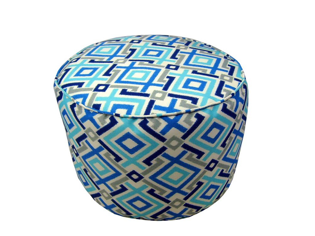 Lava Pillows Aquatic - 17 X 12 Small Round Indoor/Outdoor Pouf