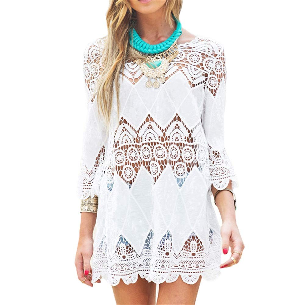 White Beach Cover Ups Women Bathing Suit Lace Crochet Pool Swim Beach Dress Cover Up Half Sleeve Summer Bikini Swimsuit Dress Beachwear Swimwear Coverups TShirt Tops (color   White, Size   One Size)